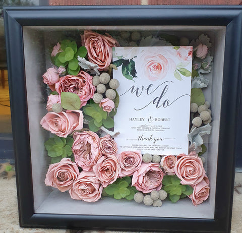 Freeze Dried Shadow Box, preserved wedding flowers
