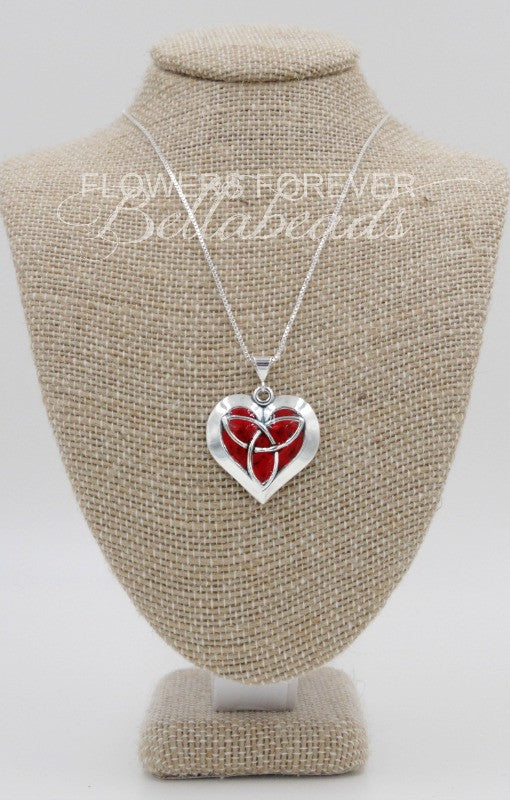 Memorial Jewelry made from Flower Petals, Celtic Heart Necklace Pendant