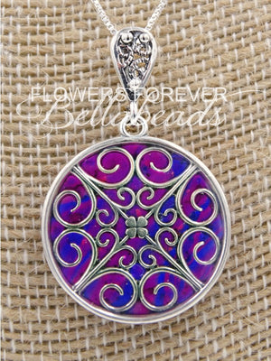 Memorial Jewelry made from Flower Petals, Filigree Circle Necklace Pendant 31mm