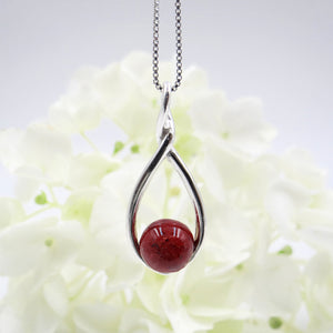 Teardrop Necklace made with wedding flowers or funeral flowers, red roses
