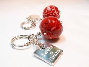 Memorial Jewelry Key Chain made from Flower Petals, Key Chain with Monogram