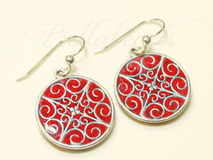 Memorial Jewelry made from Flower Petals, Filigree Circle Earrings