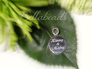 "Memorial Jewelry made from Flower Petals, Engraved 1"" Monogrammed Sterling Silver Bracelet Charm"