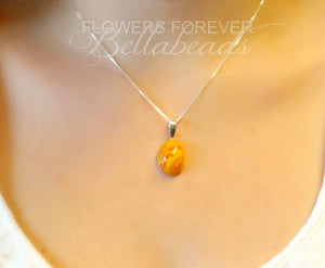 Memorial Jewelry made from Flower Petals, Classic Oval Pendant