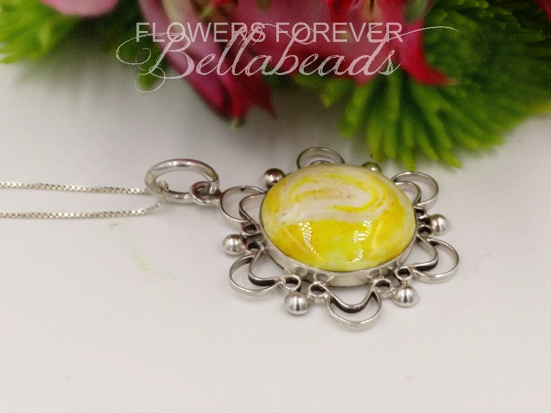 Flower Petal Jewelry, Cremation, Soleil Pendant