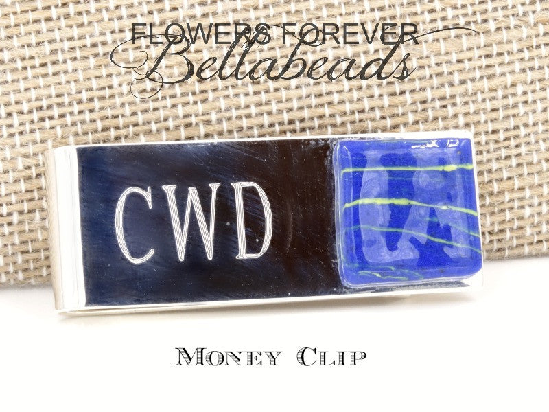 Memorial Jewelry made from Flower Petals, Sterling Silver Money Clip