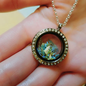 Crystal-Set Round Floating Glass Locket Pendant, Personalized, Stainless Steel