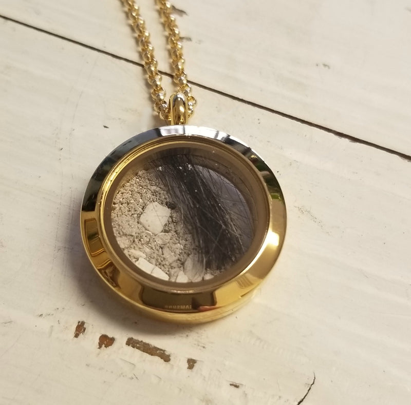 Round Floating Glass Locket Pendant, Personalized, Stainless Steel or Stainless Steel Yellow-Finish