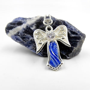 Angel Pendant made with blue and white flower petals. Memorial jewelry that will last forever.