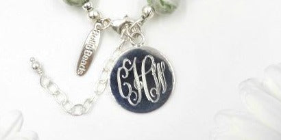 "Engraved 1"" Monogrammed Sterling Silver Charm"