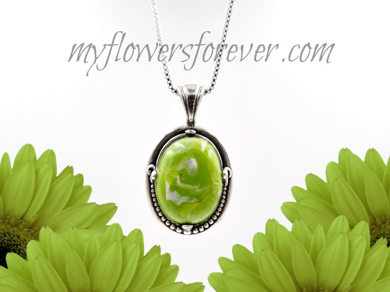 Handmade flower necklace with funeral flowers