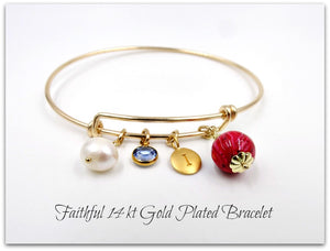 The Faithful 14 kt Gold Plated Bangle Bracelet