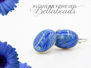 Memorial Jewelry made from Flower Petals, Classic Oval Earrings