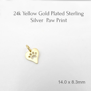 Heavy Yellow Gold-Plated Sterling Silver Cut-Out Paw-Print Heart Charm