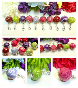 Memorial Jewelry Bracelet Charm made from Flower Petals, Large Bellabead Charm 22mm