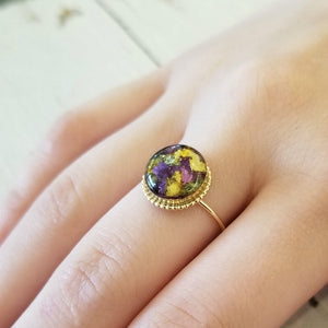 Dried flower petal resin ring
