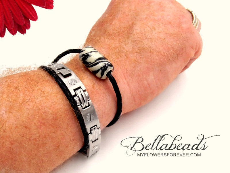 Leather & Barrel Bead Bracelet