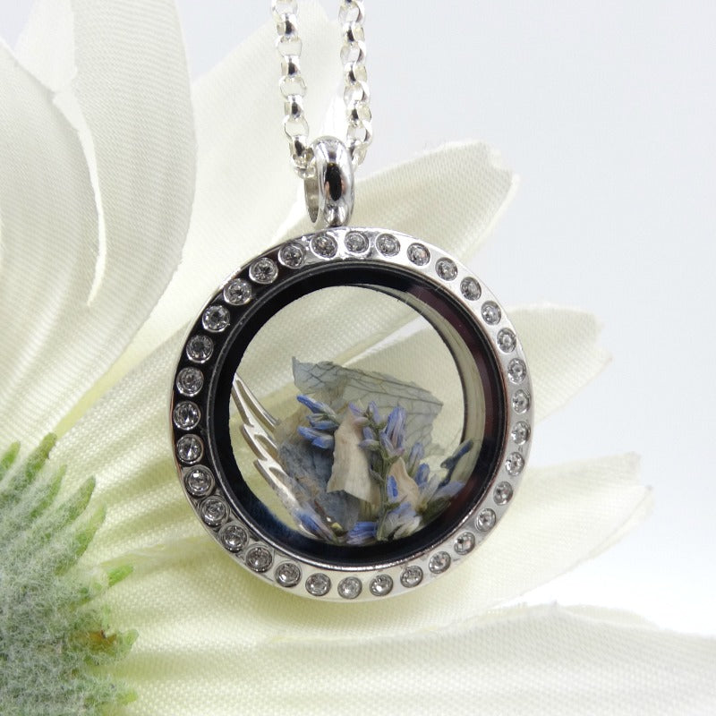 Crystal-Set Round Floating Glass Locket Pendant, Stainless Steel