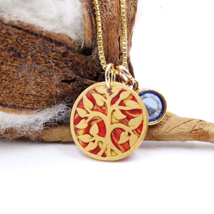 Tree of life Gold flowers petal necklace