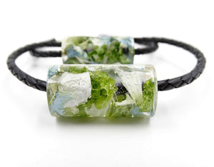 Resin Leather & Barrel Bead Bracelet