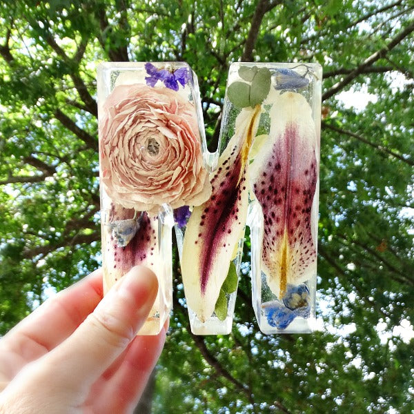 Dried Flowers set in resin initials