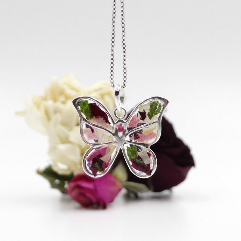 Dried flowers set in resin, memorial necklace, wedding necklace