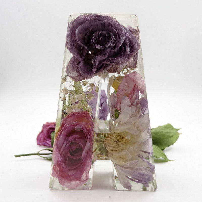 Flower Petal Resin Initials Large