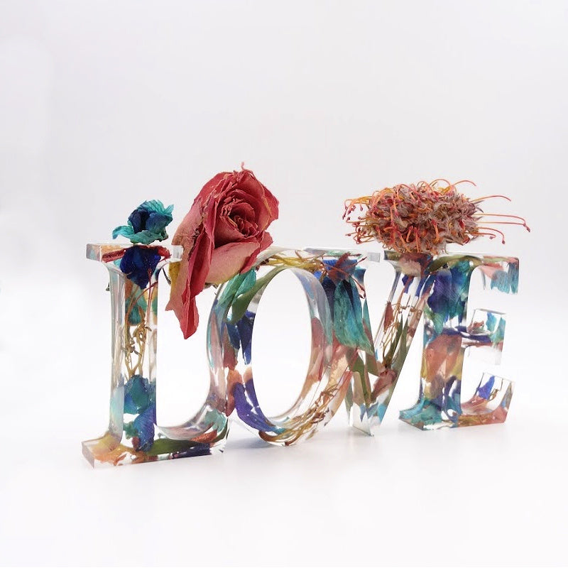 Flower Petal Resin Love Sign