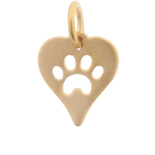 24K Heavy Yellow Gold-Plated Sterling Silver Cut-Out Paw-Print Heart Charm