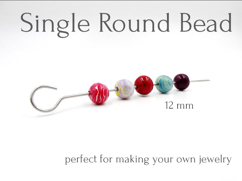 Single Round Bead 12mm, Make Your Own Jewelry
