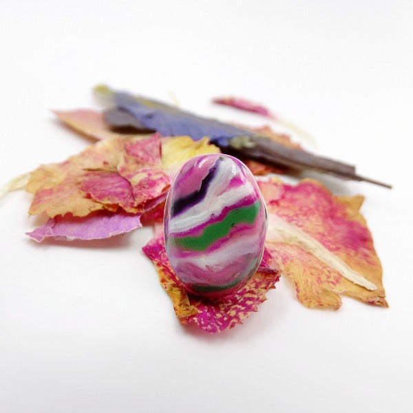 Oval Tie Tack handmade with dried flower petals