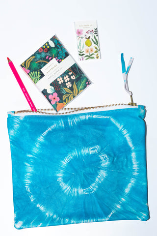 Totem Salvaged Tie Dye Blue Pouch