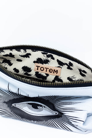Totem Salvaged the Eye White Leather Zip Pouch