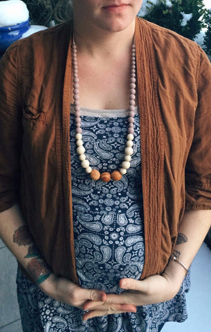 Gwendolyn Silicone + Wood Necklace *new*
