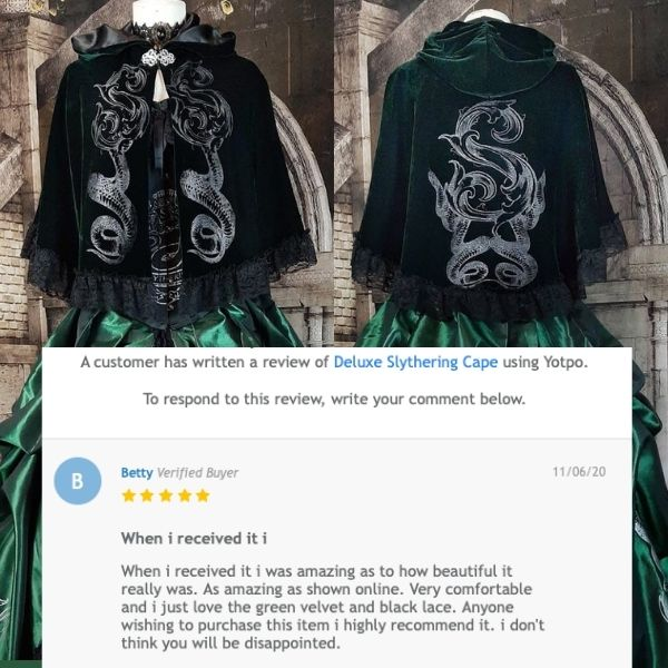 Review of the Slytherin cosplay cape by gothic Slytherin fan and customer Betty from Sydney