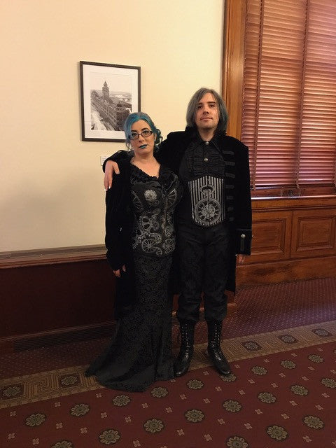 The family that corsets together stays together Janine and Bret in new steampunk silver styles