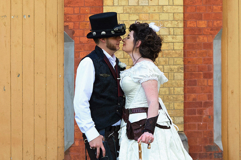 Steampunk couple, Melissa and David Norton sealing their love with a kiss