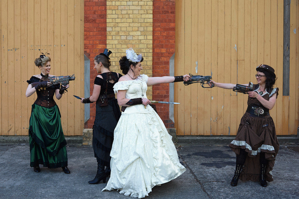 steampunk bride and her bridesmaids having too much fun!
