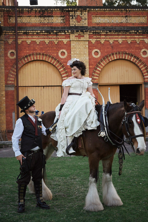 Steampunk bride on a Clydesdale