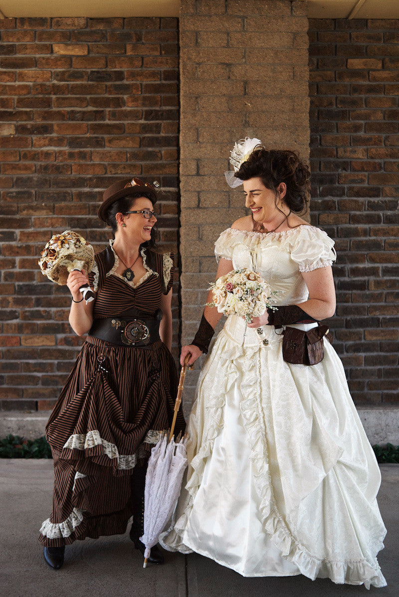 bridal gown and steampunk bridesmaid outfits from gallery serpentine