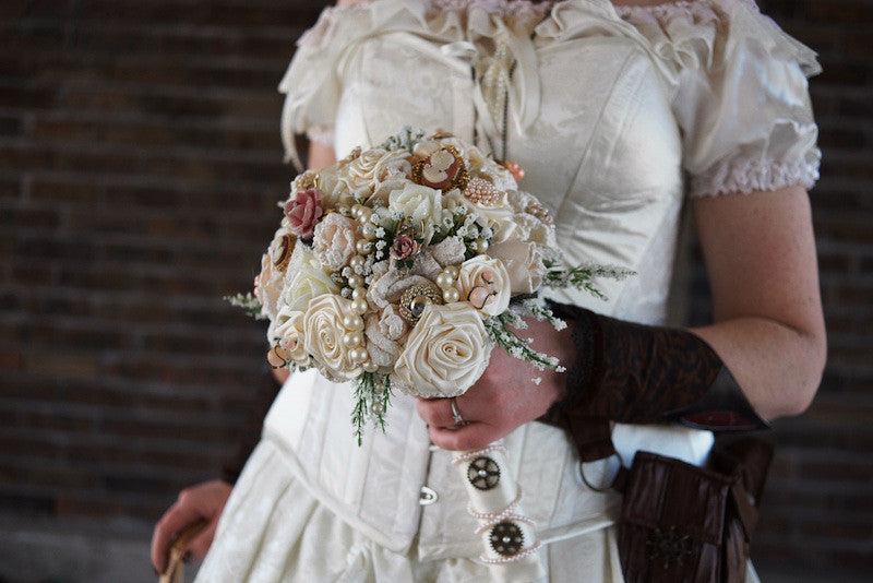 Melissa's wonderful steampunk victorian wedding bouquet