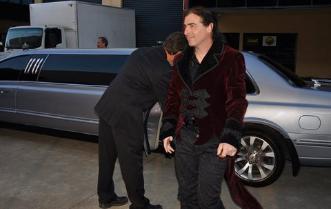 Musician and Actor Mike Lambeth arriving at an Awards night in Sydney wearing Velvet Diablo tailcoat and Jewelled Duke Trousers