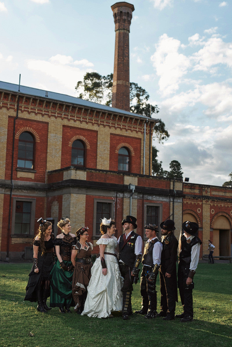 outdoors steampunk wedding at Walka Waterworks Maitland