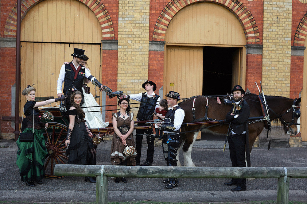 steampunk wedding with clydesdale horse perfect for some bridal party fun