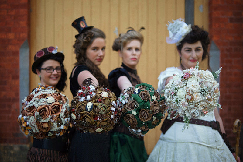 bridesmaids with steampunk bouquets