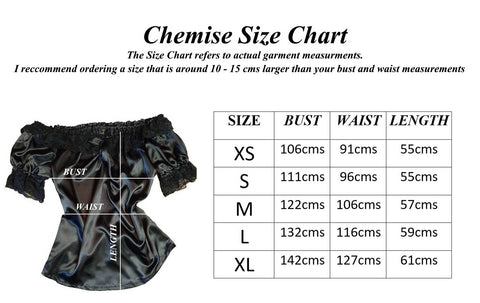 size chart for the Alice in Wonderland Chemise by Gallery Serpentine for wearing under any corset