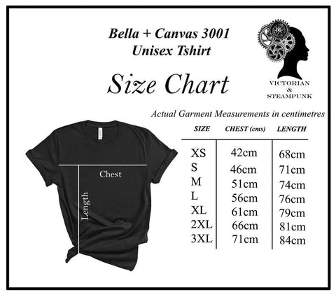 size chart in cms for the Bella + Canvas 3001 Unisex Alice in Wonderland printed t-shirt