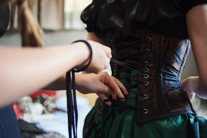 choosing a steampunk wedding theme means corsets are essential
