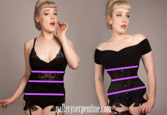 image showing a corset model with marked up measuring positions that you need for correct sizing for corsets