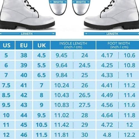 men's size guide for the Skull print gothic renaissance vegan leather boots